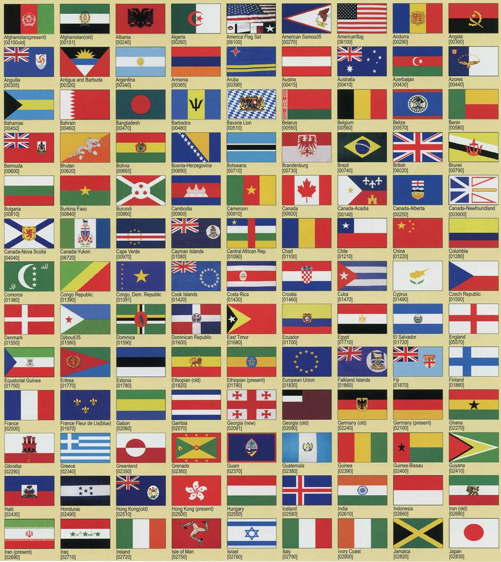 all country flags images with name pdf