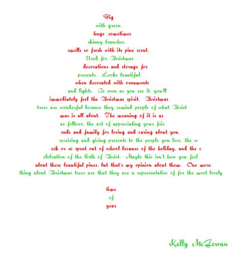Poem About A Christmas Tree: Saladogt / Concrete Poems