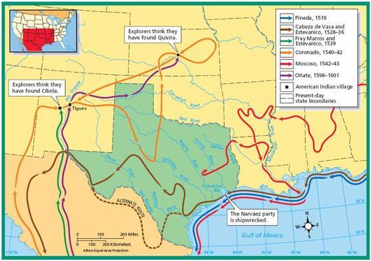 Hernan Cortes Exploration Route Map: Saladogt / Hernando Cortez
