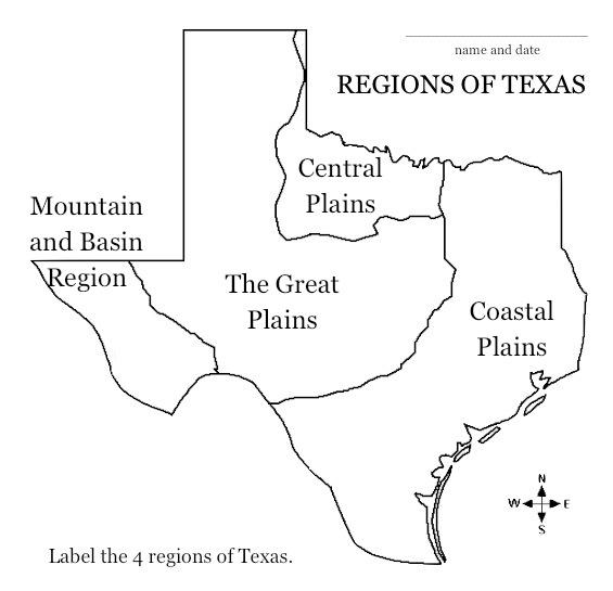 Free Printable Map Of Texas.Saladogt Regions Of Texas Unit